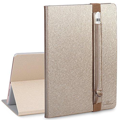 SHANSHUI Kompatibel mit iPad Pro 9.7 Hülle(2016) mit Stifthalter, Smart Case Cover Schutzhülle Tasche mit Auto Schlaf/Wach Funktion und Pencil Hülle in Einem (Champagner)