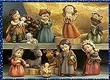 Idea Natale: Presepe natività gruppo statue di bambini in resina decorata; 11 soggetti; cm 13