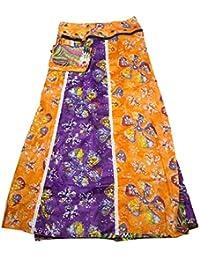 Sunsa Damen Rock Maxirock Sommerrock Wickelrock Wenderock aus Baumwolle  Zwei optisch Verschiedene Röcke mit Einem Abnehmbaren b064990df4