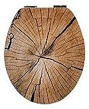 WC-Sitz High Gloss Dekor Holzscheibe | Toilettensitz | WC-Brille aus Holz | Soft-Close-Absenkautomatik | Metall-Scharnier I Fast-Fix-Schnellbefestigung