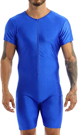 TiaoBug Mens One-Piece Sleeveless Solid Modified Wrestling Singlet Tight Vest Bodysuit