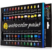 Colore - Ensemble d'Aquarelle - Ensemble de peinture d'Art de qualité supérieure pour les artistes, les étudiants et les débutants - 24 couleurs de peinture aquarelles richement pigmentées