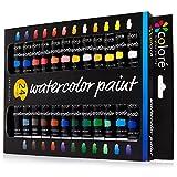 Juego de Acuarelas Colore - Kit Premium para Artistas, Estudiantes y Principiantes - Perfecto para Pinturas de Paisajes y Retratos en Canvas - 24 Colores de Acuarelas Espléndidamente Pigmentadas