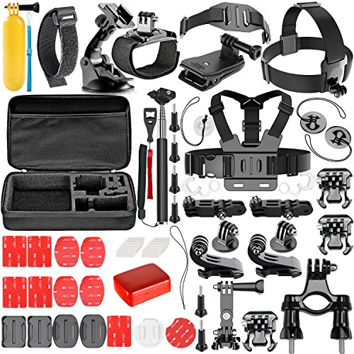 Neewer 57-in-1 Kit di Accessori per Camere d'Azione GoPro Hero Session 5 Hero 1 2 3 3+ 4 5 6 SJ4000 5000 6000 DBPOWER AKASO VicTsing APEMAN WiMiUS Rollei QUMOX Lightdow Campark Sony Sport DV