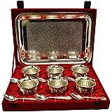 Handicraft Hub India Brass Handi Shape Bowl And Tray Set Of 13 Pcs Silver