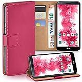 moex LG G2 | Hülle Pink mit Karten-Fach 360° Book Klapp-Hülle Handytasche Kunst-Leder Handyhülle für LG G2 Case Flip Cover Schutzhülle Tasche