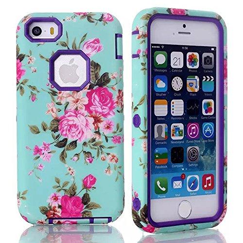 meaci (TM) Coque pour iPhone 5C Motif 3en 1Combo étui hybride avec motif fleur rose Lisse Luxe mensuel (Rose de type B Violet)