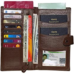 Style98 Unisex leather Travel Document Holder & Card Holder for 3 Passports
