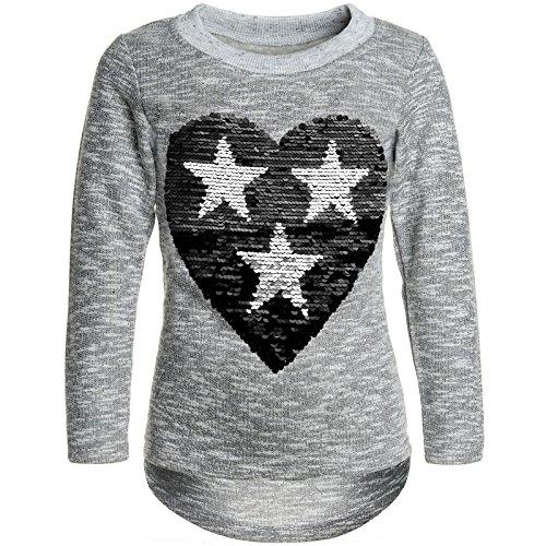 BEZLIT Mädchen Pullover Pulli Wende-Pailletten Sweatshirt 21517 Grau Größe 164
