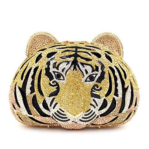 Frauen Abend Tasche Luxus Strass Tiger Abendessen Tasche Damen Lieblings Handtasche Hochzeitsfeier Kupplung Geldbeutel Metallrahmen A