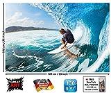 GREAT ART Affiche de Vagues Peinture Murale de Décoration Sport de Mer Nature de Plage Surf sur Vague d'Océan Planche de Surf Sports Nautiques | Mur Deco Poster Mural Image by (140 x 100 cm)