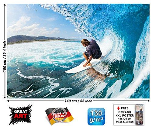 GREAT ART Poster - Wellenreiter - Wandbild Dekoration Sport Meer Natur Beach Welle Surfen Ozean Surfbrett Surfboard Wassersport Wandposter Fotoposter Wanddeko Bild Wandgestaltung (140 x 100 cm)