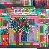 Der Boulevard Stoff | 100% Baumwolle - Digitaldruck | Mehrfarbig: rot, blau, grün, grau, rosa und gelb | Stoffbreite: 140 cm Meterware (1 meter)