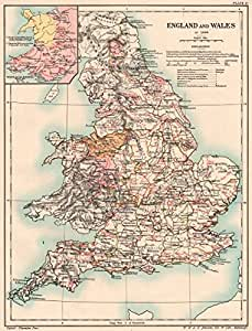 NORMAN BRITAIN 1086. England & Wales of Domesday book. Borders 1185 - 1902 - old antique vintage map - printed maps of Great Britain