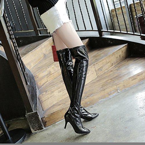 ac19d4e13048 ... Femme Sexy Noir Haut Vernis Pointu Bottes Aiguille Cuissardes Hiver  Zippées Talon Oaleen Bout TxEfq6 ...