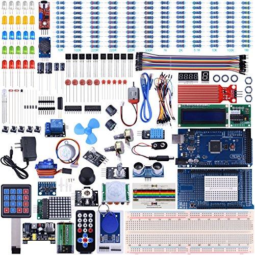 UNIROI Mega 2560 R3 Kit de Démarrage Ultime Le Plus Complet avec Manuel d'Utilisation Français pour Débutants et Professionnels DIY Compatible avec Arduino IDE