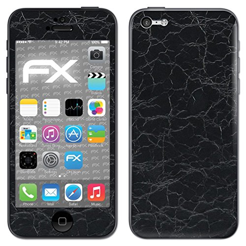 "Skin Apple iPhone 5C ""FX-Carbon-Black"" Designfolie Sticker FX-Rugged-Leather-Black"