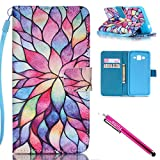 G530 Case, Galaxy Grand Prime Case, Firefish Stand Flip Folio Wallet Cover Shock Resistance Shell with Magnetic Closure for Samsung Galaxy Grand Prime G530 G530H G5308-Lotus