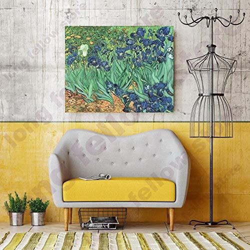 LRZZDP DIY Anzahl Malerei Iris Malerei Blumen Van Gogh Geschenk Leinwand Malen Nach Zahlen Blume Home Decor Färbung Nach Zahlen -