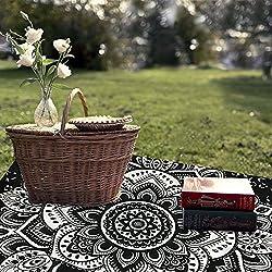 TanJean Tapiz hindú Blanco y Negro decoración psicodélica y Bohemia para Colgar en Pared Tapiz para Cama, Mesa, colchoneta, Toalla para Playa 60x60 Pulgadas