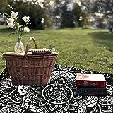 TanJean indische Mandala-Tapisserie schwarz & weiß psychedelisch Wandbehang Dekorative böhmischen Dekor Wandteppiche Doppelt Bettdecke Bettlaken Tischdecke Yoga-Matte Strandtuch-Decke 60 x 60 Zoll