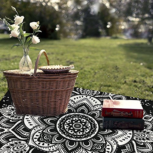 TanJean Tapiz hindú Blanco Negro decoración