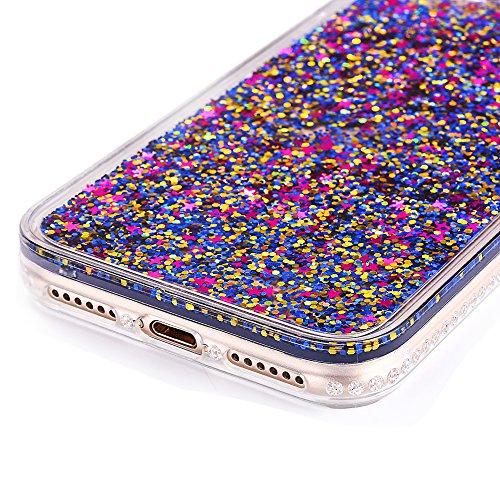 """Dur Plastique + Souple Silicone Protecteur étui pour Apple iPhone 7Plus 5.5""""(NON iPhone 7 4.7""""), CLTPY Mode Beau Fluide Flottant Liquide Paillette Shiny Sables Mouvant Etui, Ultra Fine Clair Shell de  Coloré"""