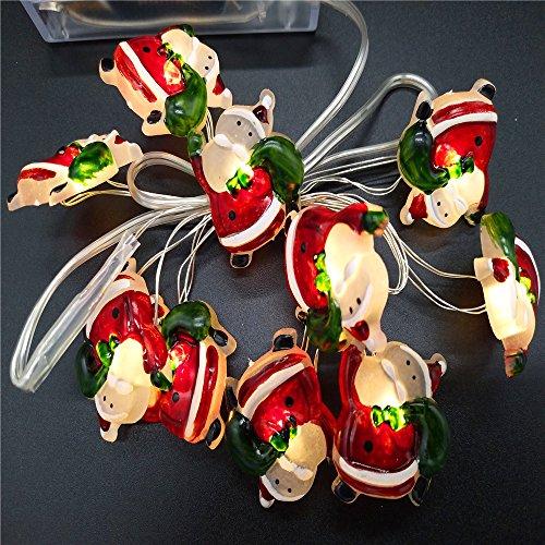 20 Zwei-licht (LED-String-Licht, Vimmor 2er-Pack 20 (2 x 10) LED-Lampe Perlen Weihnachtsmann LED-Schnur-Licht mit Batterie Betrieben, DIY Dekoration für Themenparties / Karneval / Festival / Feiern und Andere Besondere Anlässe)