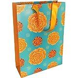 "SAPCO Paper Bag - Marigold Flowers - 9x13x3.5"" - Medium (Pack of 10) Best for Diwali, Poojas, Indian Occasions, Weddings"