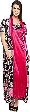 Clovia Women's 2 Pcs Printed Satin Nighty & Robe Set