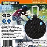 ECOBELLE Altavoz Bluetooth portátil e impermeable (resistente al agua) 3W (IPX4). Negro Equipado con un mosquetón. USB recargable (cable incluido). Compatible con IOS, Android, tabletas y Smartphones