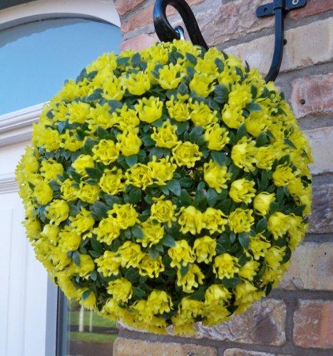 Best Artificial (TM) 28cm Yellow Rose Topiary