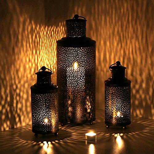 Oriental marroquí farol viento luz jardín metal vintage tischlaterne
