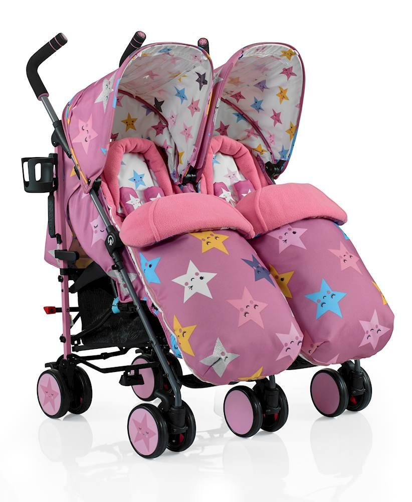 Cosatto Supa Dupa Double/Twin Stroller, Suitable from Birth, Happy Stars Cosatto Supa dupa is a compact from-birth double stroller. it's lightweight but sturdy. the stowaway autostand makes it great for home or car storage. With upf50+ extendable hoods, raincover and fleece-lined footmuffs, supa dupa's in charge, rain or shine.  the handy compact fold means you can hop on and off transport. Each seat has its own recline - so whatever their age, whatever their stage, whatever their mood that day, they're happy. 1