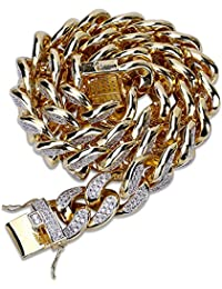 MCSAYS Hip Hop Fashion Jewelry - Collar de cadena cubana grande chapado en  oro de 18 6e6f819d44fb7