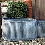 Bac à plantations ovale de style ancien - En acier galvanisé