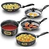Hawkins Futura Nonstick Cookware Set 4  Two Frying Pans, Deep Fry Pan, Saucepan, Curry Pan / Saute Pan with Two Glass Lids ,