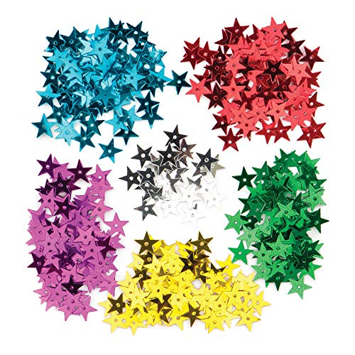 Baker Ross Stern-Pailletten für Kinder zum Basteln, Verzieren und Gestalten zu Weihnachten - Kreatives Spielzeug für Kinder in der Weihnachtszeit (pro Dose)
