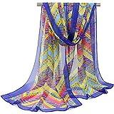 Leisial Mujer Pañuelos Gasa de Larga Bufanda Nacional Retro del Viento del Abrigo del Mantón de Bufandas Suave Gasa de Chal Seda Verano para Señora,Azul 160*50cm