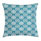 OQUYCZ Blue And White Throw Pillow Cushion Cover, Damask Art Flowers with Baroque Curlicues Victorian Garden Inspiration, Decorative Square Accent Pillow Case, 18 X 18 Inches, Blue And White