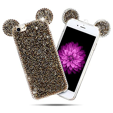 Coque iPhone 7 (5.0 pouce) , Bling Diamant Modèle TPU Case Or Crystal Mignon Mickey Oreille Étui de Protection Flexible Soft Slim Souple Silicone Cover Anti Choc Ultra Mince Couverture Bumper Caoutchouc Gel Anfire Housse pour iPhone 7