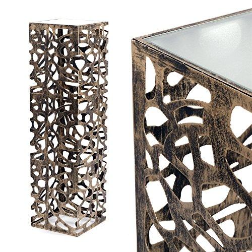 DEKO SÄULE 'ENZA' Dekofigur aus Metall Blumensäule 70 cm antik-silber