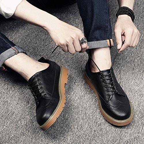 Homme Rétro Chaussures de Ville à Lacets en PU Cuir Bout Rond Brogue Épais Plateforme Démarrer Loisir Noir