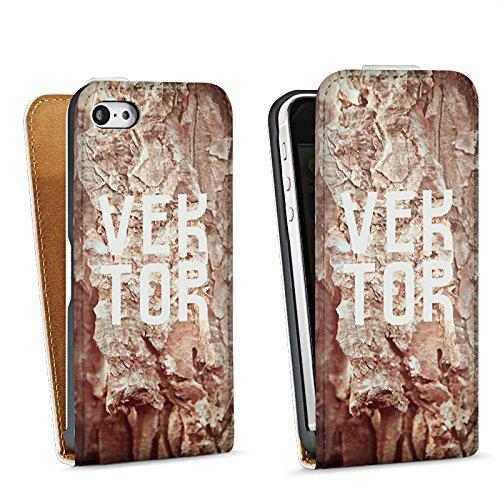 Apple iPhone 5s Housse Étui Protection Coque Grotte VEKTOR Pierres Sac Downflip blanc