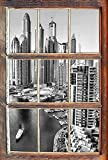 Monocrome, Dubai Metropole Fenster im 3D-Look, Wand- oder Türaufkleber Format: 62x42cm, Wandsticker, Wandtattoo, Wanddekoration