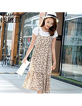 Chica de verano falda La falda larga moderno coreano se desliza,M,beige