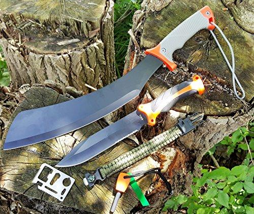 *5er Set* große Parang 'BK50' Survival Outdoor Busch Jungle Machete und 33cm großes High-Tec Drop-Point Outdoor - Survival - Jagd-Messer mit TacHide Griff + 12in1 Survival-Card + Feuerstarter + Paracord-Band