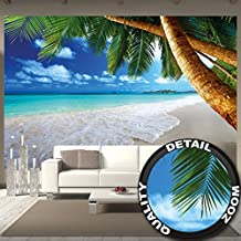 Poster fotografico spiaggia di palme Murales Decorazione spiaggia da sogno ai Caraibi Baia Paradiso naturale Isola con palme ai Tropici   Murales Decorazione da parete by GREAT ART (336 X 238 cm)
