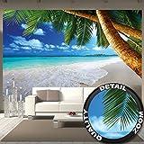 great-art Fototapete-Strand Palmen Wandbild Dekoration Karibik Traumstrand Bucht Paradies Natur Insel Palmen Tropen Blauer Himmel Sommer | Foto-Tapete Wandtapete Fotoposter Wanddeko by (336 x 238 cm)