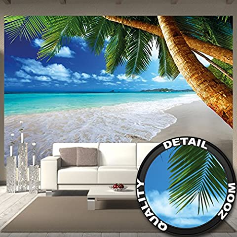 Wall Mural Palm Trees Beach Mural Decoration Caribbean Dream Beach Bay Paradise Nature Island Palms Tropical Blue Sky Summer I paperhanging Wallpaper poster wall decor by GREAT ART (132.3 Inch x 93.7 Inch / 336 x